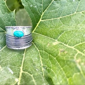 Jewelry - TURQUOISE stone RING STERLING SILVER band WRAP 9
